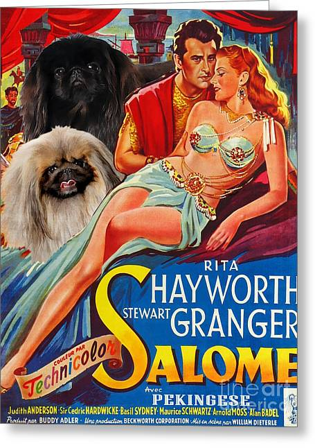 Salome Greeting Cards - Pekingese Art - Salome Movie Poster Greeting Card by Sandra Sij