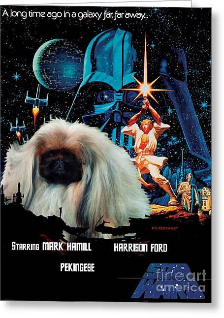 Dog Prints Greeting Cards - Pekingese Art - Star Wars Movie Poster Greeting Card by Sandra Sij