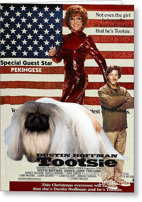 Dog Prints Greeting Cards - Pekingese Art - Tootsie Movie Poster Greeting Card by Sandra Sij