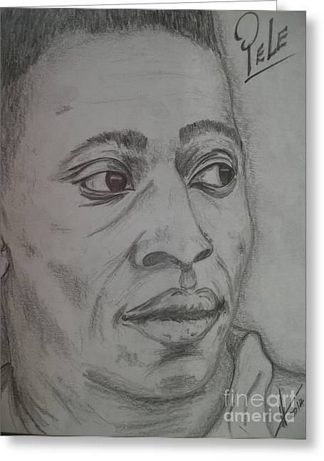 Player Drawings Greeting Cards - Pele Greeting Card by Collin A Clarke