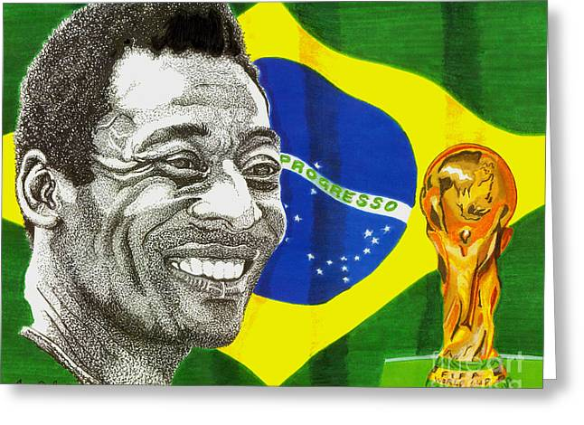 Soccer Drawings Greeting Cards - Pele Greeting Card by Cory Still