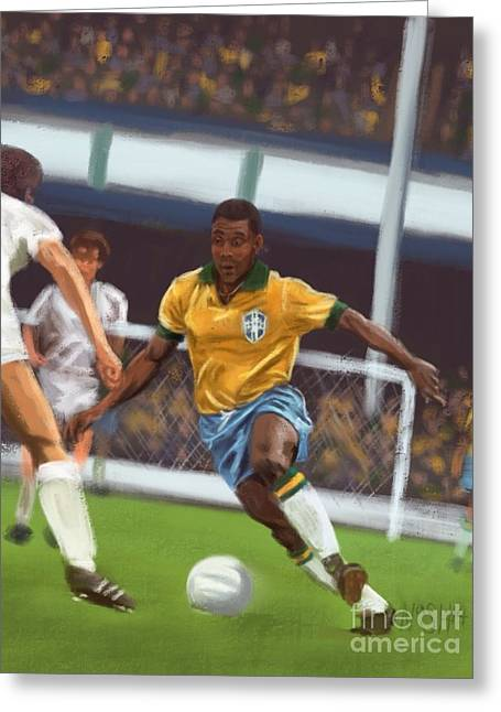 Bicycle Kick Greeting Cards - Pele Greeting Card by Jeremy Nash