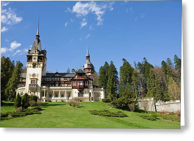 Peles Castle, Sinaia, Carpathian Greeting Card by Martin Zwick
