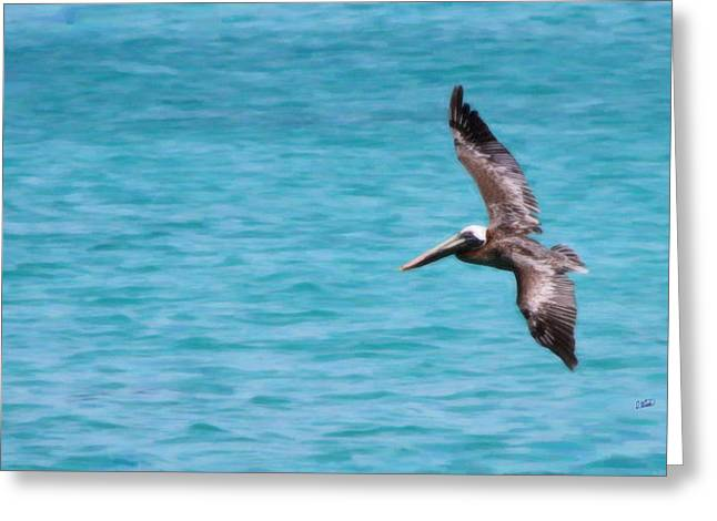 Pelicans Flying Over Water Greeting Cards - Pelican 2601 Greeting Card by Dean Wittle