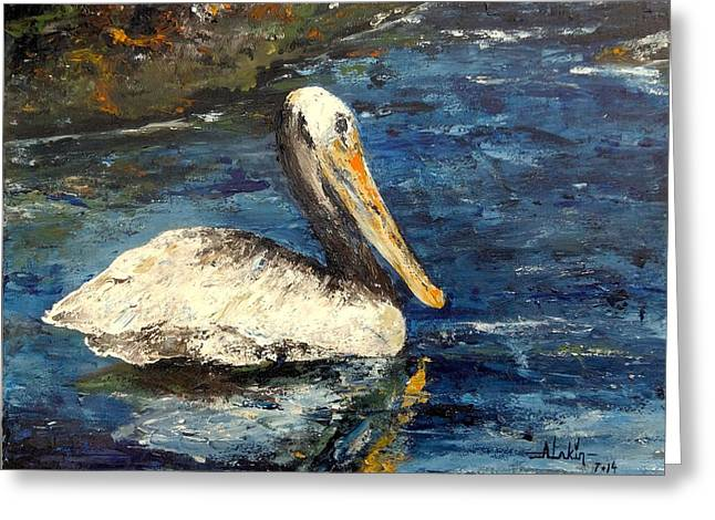 Impressionist Greeting Cards - Pelican Greeting Card by Alan Lakin