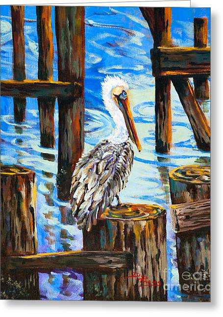 Pelican Paintings Greeting Cards - Pelican and Pilings Greeting Card by Dianne Parks