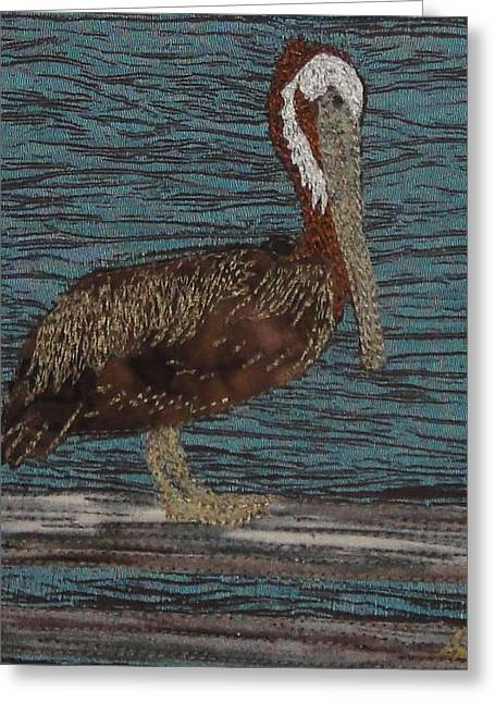 Fence Tapestries - Textiles Greeting Cards - Pelican Greeting Card by Anita Jacques