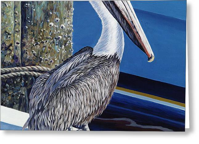 Pelican Blues Greeting Card by Danielle  Perry