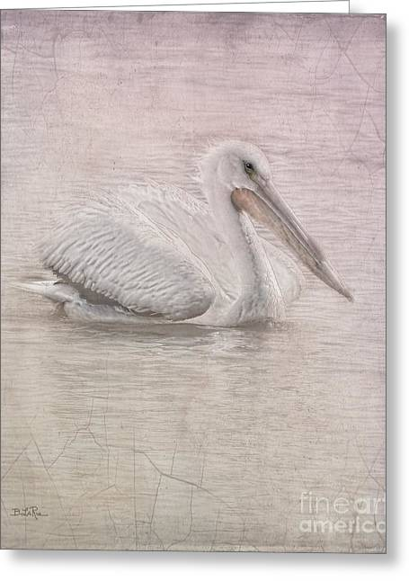 American White Pelican (pelecanus Erythrorhynchos) Greeting Cards - Pelican in Pastel Greeting Card by Betty LaRue