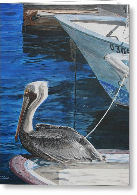 Boats On Water Greeting Cards - Pelican on a Boat Greeting Card by Ian Donley