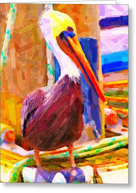 Wingsdomain Greeting Cards - Pelican On The Dock Greeting Card by Wingsdomain Art and Photography