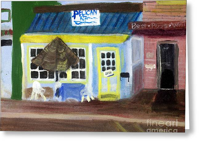 Walsh Lake Greeting Cards - Pelican Restaurant on Lake Ave in Lake Worth Florida Greeting Card by Donna Walsh