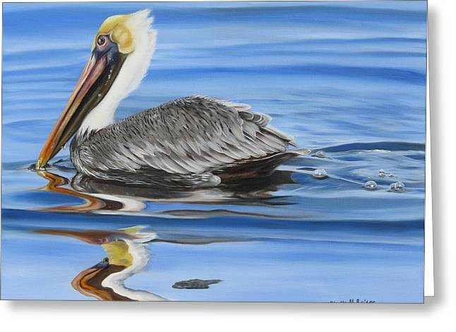 Phyllis Beiser Greeting Cards - Pelican Ripples Greeting Card by Phyllis Beiser