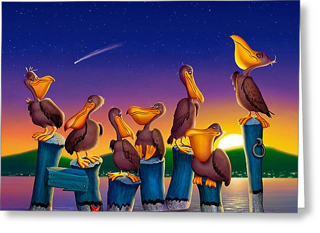 Cartoony Greeting Cards - Pelican Sunset Whimsical Cartoon -  Square Format Greeting Card by Walt Curlee