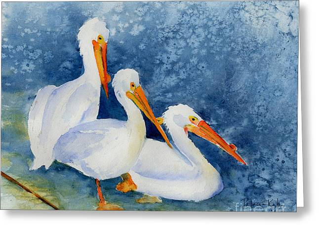 Sienna Greeting Cards - Pelicans At The Weir Greeting Card by Pat Katz