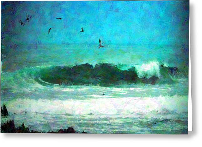 Pacific Ocean Prints Digital Art Greeting Cards - Pelicans Enjoying The Mighty Pacific Impressionism Greeting Card by Joyce Dickens