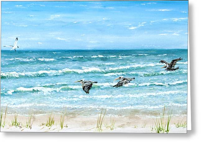 Pelicans Flying Over Water Greeting Cards - Pelicans on Crescent Beach Greeting Card by Bruce Alan