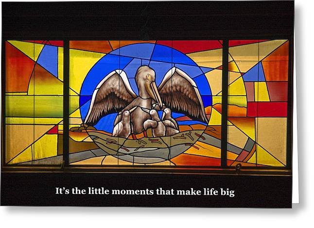 Santa Cruz Art Greeting Cards - Pelicans Stained Glass with Words Greeting Card by Sally Weigand