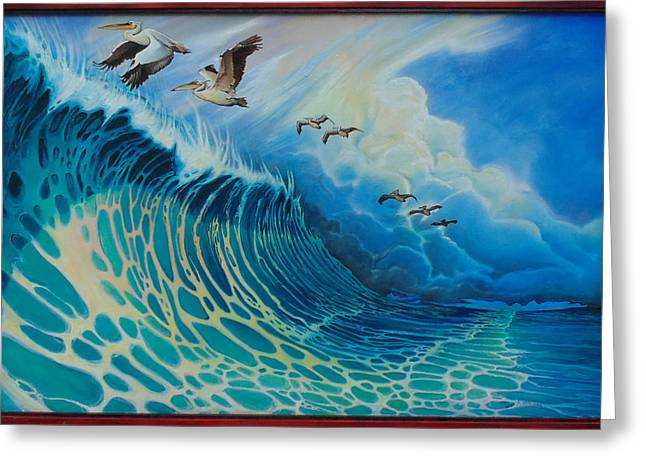 Pelicans Over Ocean Greeting Cards - Pelicans Surfing Greeting Card by Stacey Heney