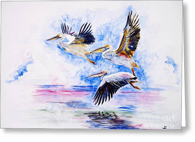 Pelicans Greeting Card by Zaira Dzhaubaeva