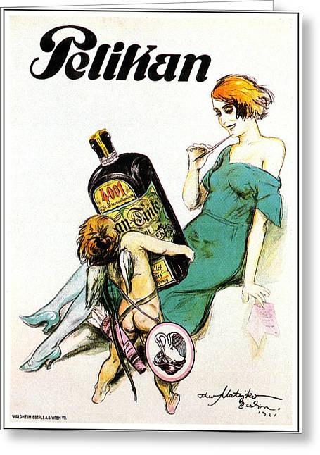 Belle Epoque Mixed Media Greeting Cards - Pelikan Tonic Greeting Card by Theo Matejko
