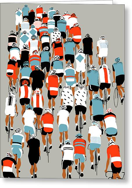 Bike Race Greeting Cards - Peloton Greeting Card by Eliza Southwood