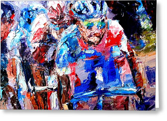 Mountain Climbing Print Paintings Greeting Cards - Peloton Greeting Card by Mark Hartung