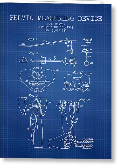 Pelvis Greeting Cards - Pelvic Measuring Device Patent from 1963 - Blueprint Greeting Card by Aged Pixel
