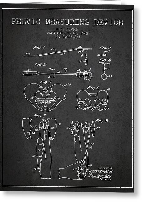 Pelvis Greeting Cards - Pelvic Measuring Device Patent from 1963 - Charcoal Greeting Card by Aged Pixel