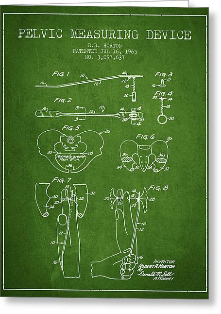 Pelvis Greeting Cards - Pelvic Measuring Device Patent from 1963 - Green Greeting Card by Aged Pixel