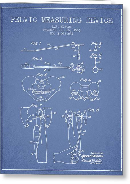 Pregnancy Digital Greeting Cards - Pelvic Measuring Device Patent from 1963 - Light Blue Greeting Card by Aged Pixel