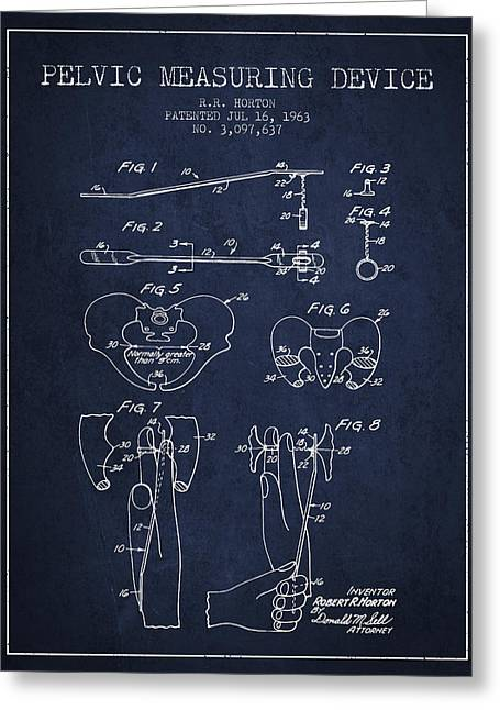 Pelvis Greeting Cards - Pelvic Measuring Device Patent from 1963 - Navy Blue Greeting Card by Aged Pixel