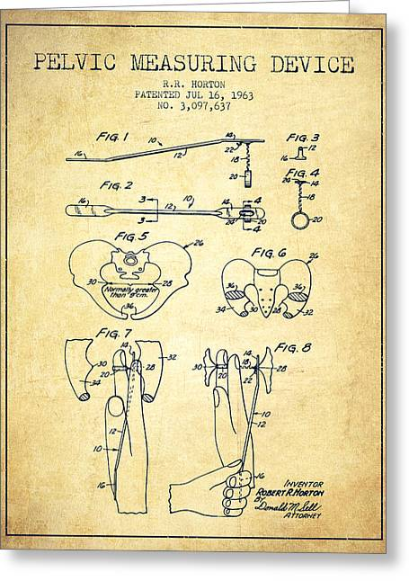 Pelvis Greeting Cards - Pelvic Measuring Device Patent from 1963 - Vintage Greeting Card by Aged Pixel