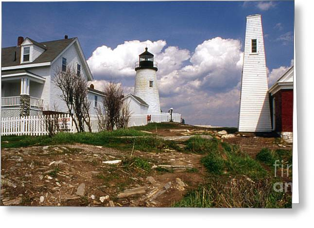 Maine Lighthouses Greeting Cards - Pemaquid Complex Greeting Card by Skip Willits