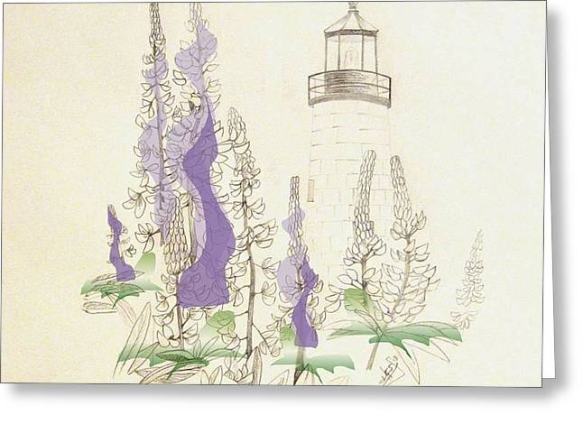 Maine Lighthouses Mixed Media Greeting Cards - Pemaquid Light 3 Greeting Card by Howard Elliott