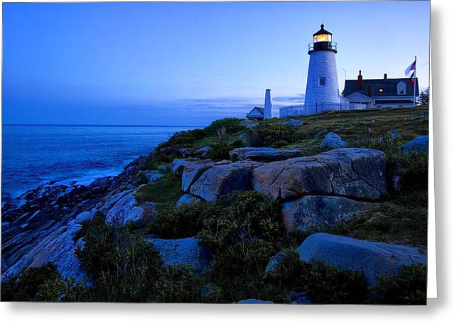 Joeseph Greeting Cards - Pemaquid Light at Dusk Greeting Card by Diana Powell