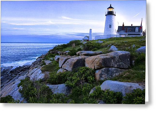 Joeseph Greeting Cards - Pemaquid Light at Sunset Greeting Card by Diana Powell