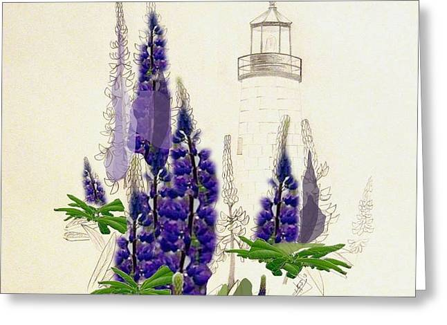 Maine Lighthouses Mixed Media Greeting Cards - Pemaquid Lighthouse 2 Greeting Card by Howard Elliott