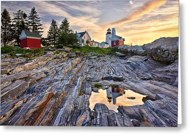 Mid Summer Morning Greeting Cards - Pemaquid Lighthouse Reflection Greeting Card by Benjamin Williamson