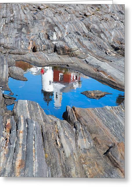 Maine Beach Greeting Cards - Pemaquid Lighthouse reflection Greeting Card by Emmanuel Panagiotakis