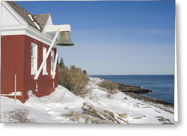 New England Lighthouse Greeting Cards - Pemaquid Point Bell House on the Maine Coast Greeting Card by Keith Webber Jr