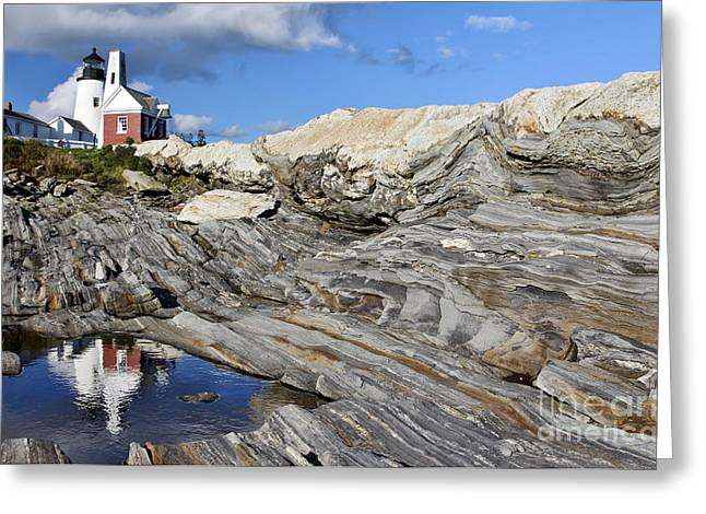 Maine Lighthouses Greeting Cards - Pemaquid Point  Greeting Card by Karin Pinkham