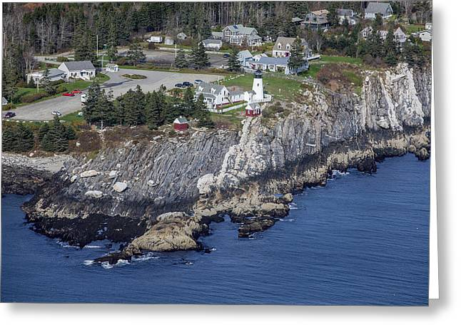 Oblique Greeting Cards - Pemaquid Point Light, Bristol Greeting Card by Dave Cleaveland