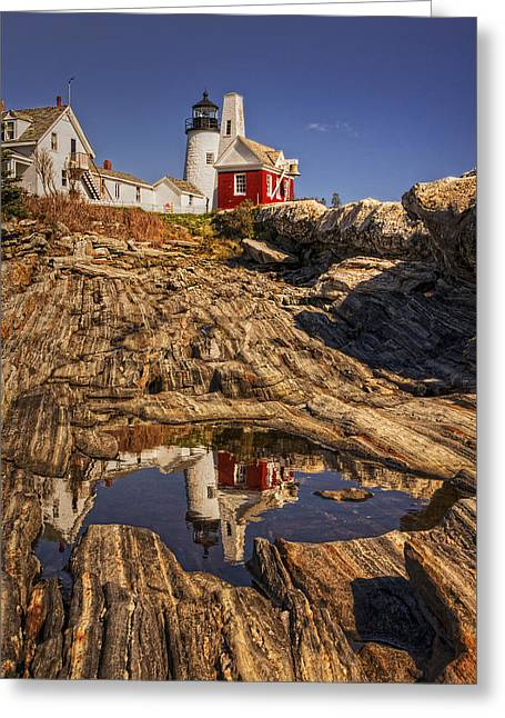 Coastal Maine Greeting Cards - Pemaquid Point Light Greeting Card by Priscilla Burgers