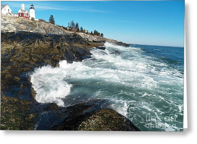 Cape Neddick Greeting Cards - Pemaquid Point Lighthouse 1 Greeting Card by Joseph Marquis