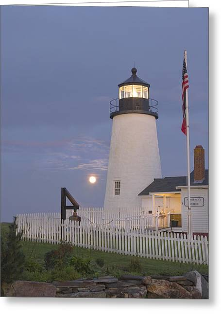 Sea Moon Full Moon Greeting Cards - Pemaquid Point Lighthouse and Moon Maine Coast Greeting Card by Keith Webber Jr