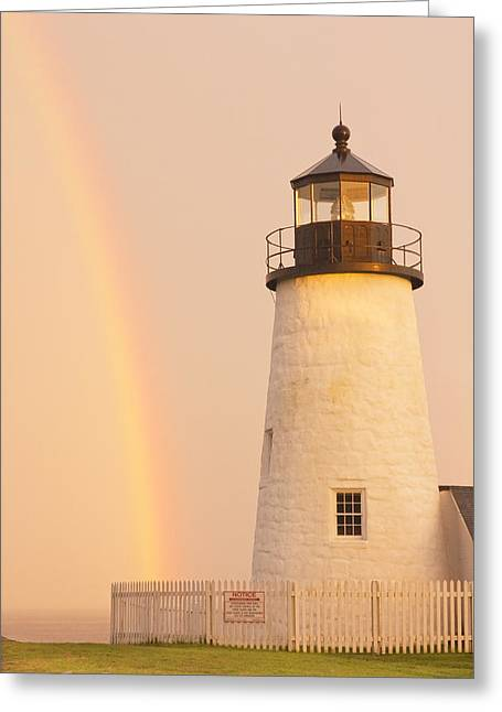 New England Lighthouse Photographs Greeting Cards - Pemaquid Point Lighthouse And Rainbow in Maine  Greeting Card by Keith Webber Jr
