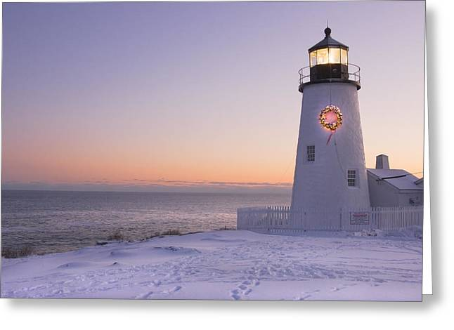 New England Lighthouse Photographs Greeting Cards - Pemaquid Point Lighthouse and Snow Maine Coast Greeting Card by Keith Webber Jr