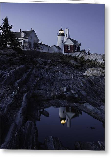 New England Lighthouse Photographs Greeting Cards - Pemaquid Point Lighthouse At Night in Maine Greeting Card by Keith Webber Jr