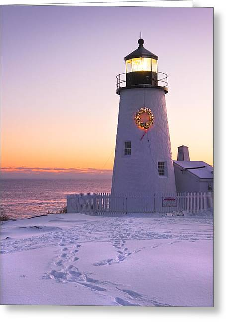 New England Lighthouse Photographs Greeting Cards - Pemaquid Point lighthouse Christmas Snow Wreath Maine Greeting Card by Keith Webber Jr